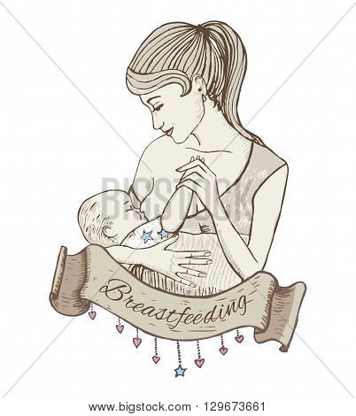 vector hand-drawn illustration of mother breastfeeding baby