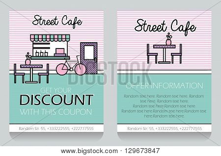 Trendy minimalistic icon style small street cafe themed discount coupon advertising flyer gift voucher customizable template. Replace text add your logo to customize template.