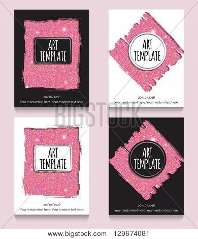 Modern eclectic pink glitter flyer poster card template. Vintage dotted shadows glamourous pink glitter texture background minimalistic framing and casual text.
