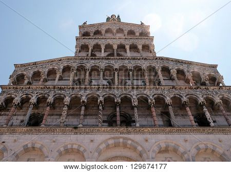 LUCCA, ITALY - JUNE 06, 2015: Portal of San Michele in Foro Church in Lucca, Italy, on June 06, 2015