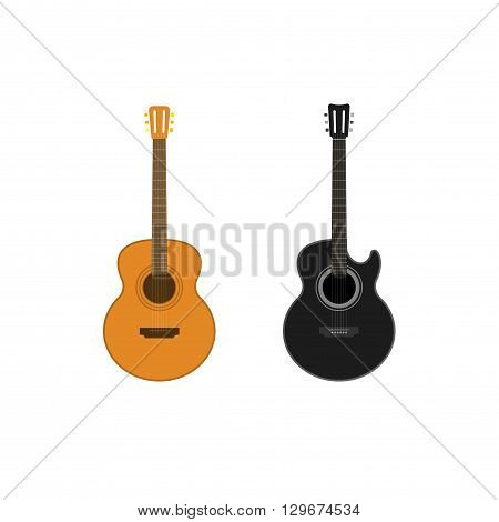 Acoustic guitars vector set isolated on white background, classic guitar illustration, classical black and wooden guitar flat style icon, cartoon guitar design
