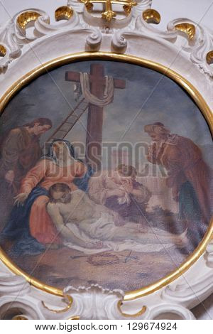 ZIEMETSHAUSEN, GERMANY - JUNE 09: Lamentation of Christ, fresco in the Maria Vesperbild Church in Ziemetshausen, Germany on June 09, 2015.