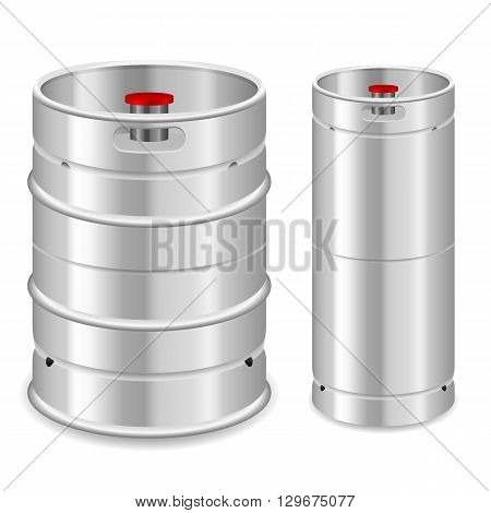 Beer keg set on a white background.