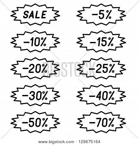 Vector illustration of set the labels discounts.