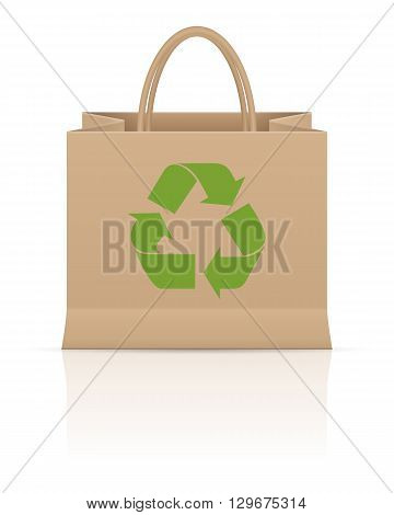 Recycle paper bag on a white background.
