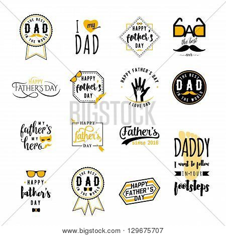 Happy fathers day wishes overlays, lettering labels design set. Retro father badges. Hand drawn emblem with tie, mustache, glasses, hand. Isolated. Fathers Day sign or logo for photo overlays design web, print.
