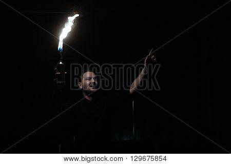 CHRUDIM (CZE) 02/04/2016 _ Fireshow of bartender Petr Hurta