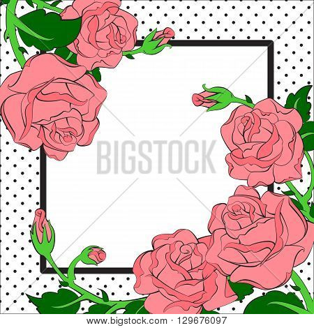 pink roses on black and white dotes frame