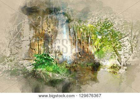Digital watercolor painting of a beautiful waterfall. Plitvice Lakes National Park in Croatia
