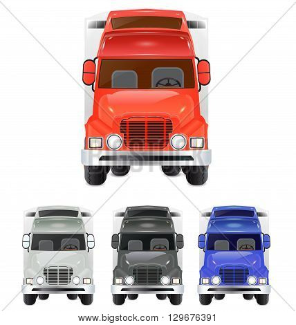 isolated truck illustration set with different color