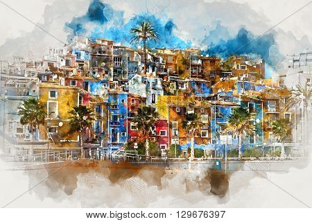 Digital watercolor painting of Villajoyosa town in Costa Blanca. Province of Alicante Valencian Community; Spain