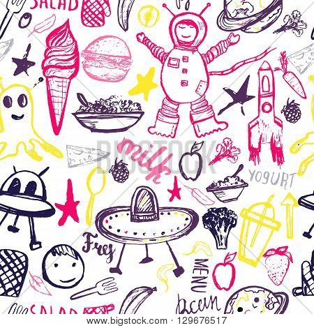 Seamless pattern Cosmic Kids. Cute colorful hand drawn vector template  with monsters, astronaut, UFOs.