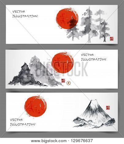 Banners with pine trees, red sun and mountains hand drawn with ink in traditional Japanese painting style sumi-e.  Contains signs - well-being, way. Vintage background.