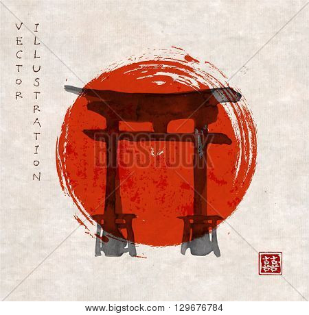Torii gates and red rising sun hand-drawn with ink in traditional Japanese style sumi-e on vintage background. Contains hieroglyph - double luck.