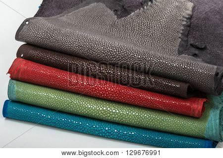 Stingray exotic hide, leather, skins, five colours