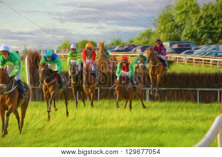 Illustrative image of horse race on grass track with horses jumping over hedge.
