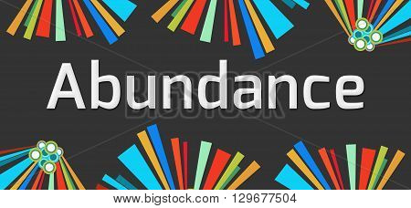Abundance text written over dark colorful background.