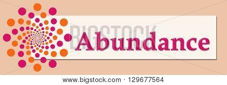 Abundance text written over pink orange background.