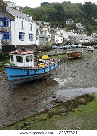 Harbour Boats And Rustic Houses Photographed At Polperro In Cornwall