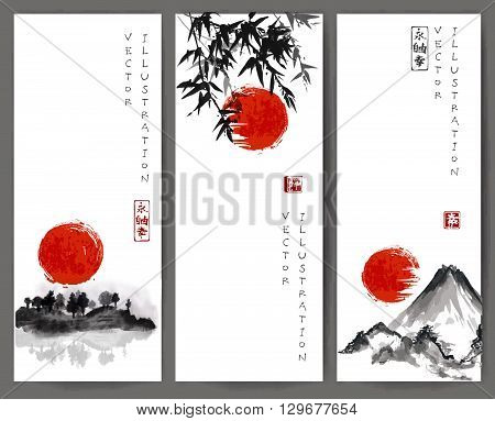 Three banners with red sun, bamboo, mountains and island with trees. Traditional Japanese ink painting sumi-e. Contains hieroglyphs - eternity, freedom, happiness