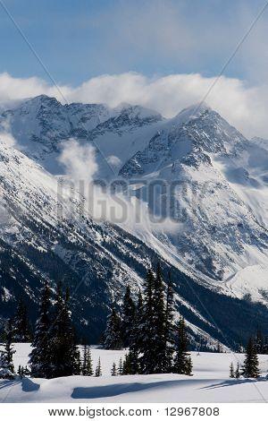 Pico de la montaña cubierta de nieve