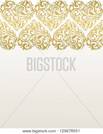Ornate vector border with hearts. Hearts from floral tracery. Gold border. Border with hearts