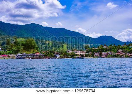 View of Parapat village, Lake Toba, Sumatra, Indonesia
