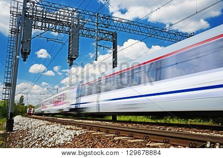 Modern Electric Passenger Train Moving On Full Speed