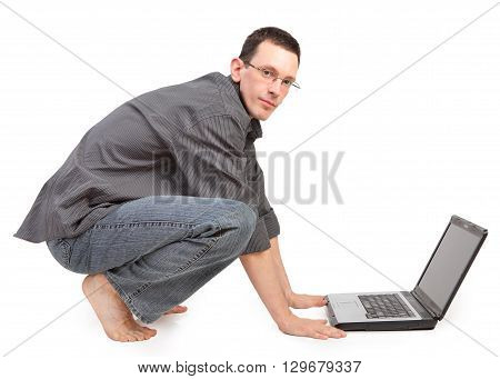 guy with the laptop isolated on a white background