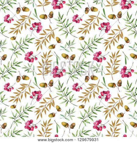 Seamless pattern with foliage, golden leaves, berries and acorns