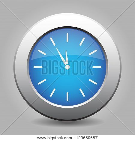 blue metal button - with white last minute clock
