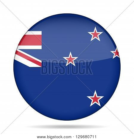 button with national flag of New Zealand and shadow