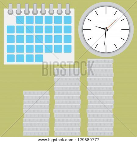 Time is money. Coin silver stock with clock. Coin silver and clock time. Stock finance money investment in time. Vector flat design illustration
