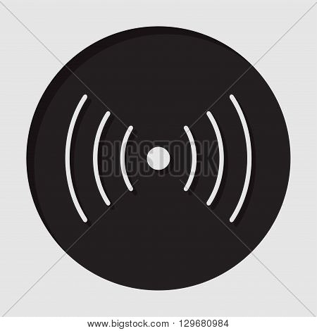 information icon - dark circle with white sound or vibration symbol and shadow