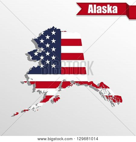 Alaska State map with US flag inside and ribbon
