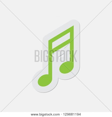 simple green icon with contour and shadow - musical note on a white background