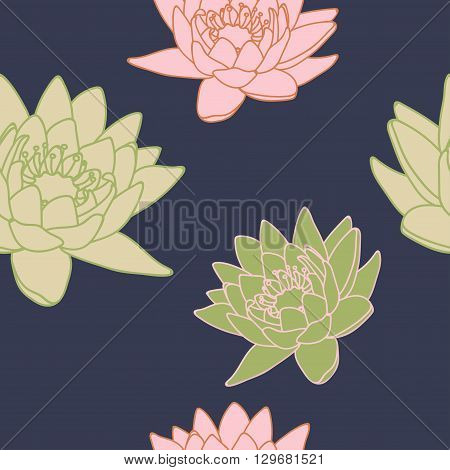 Seamless pattern with lilies. Floral background with lilies. Beautiful floral pattern. Vector Illustration.