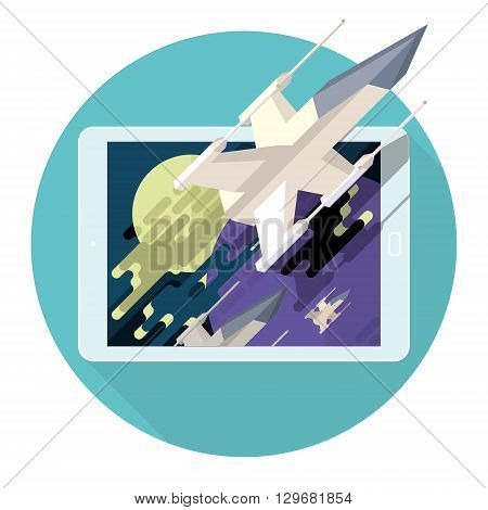 Augmented reality in game for the mobile device. Spaceship in star space. Action, battle