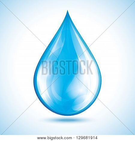 Blue glowing water drop isolated on white background. Nature object design element for icon. Vector illustration
