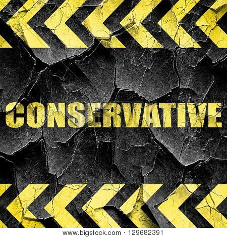 conservative, black and yellow rough hazard stripes