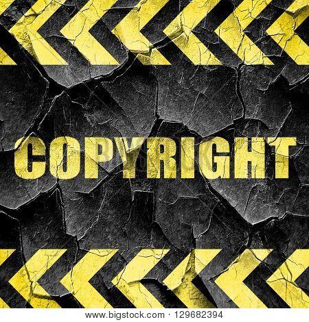 copyright, black and yellow rough hazard stripes