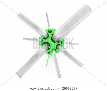 Hex key metal tool for fix isolated on white background