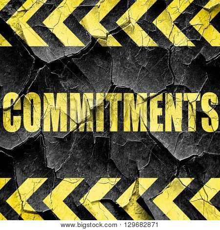 commitments, black and yellow rough hazard stripes