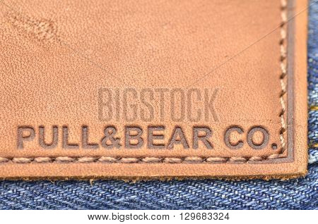 CIRCA MARCH 2016 - GDANSK: Closeup of Pull and Bear label on blue jeans. Pull and Bear is Spanish clothing and accessories retailer. It was founded in 1986 as New Wear, S.A.