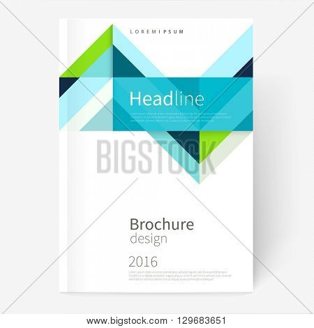 Vector Brochure, leaflet, flyer, cover template. Modern Geometric Abstract background blue & green diagonal lines & triangles. minimalistic design creative concept