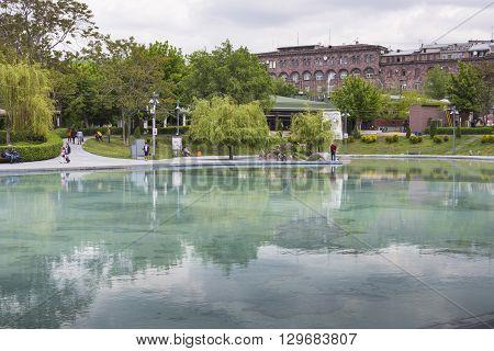 Yerevan, Armenia - May 02 : Swan Lake On May 02, 2016 In Yerevan. Yerevan Is The Capital City Of Arm