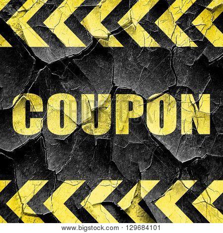 coupon, black and yellow rough hazard stripes