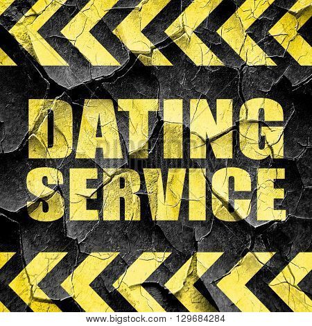 dating service, black and yellow rough hazard stripes