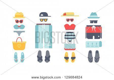 Beachwear vector set.