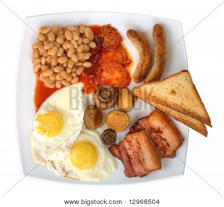 traditional english breakfast on plate isolated